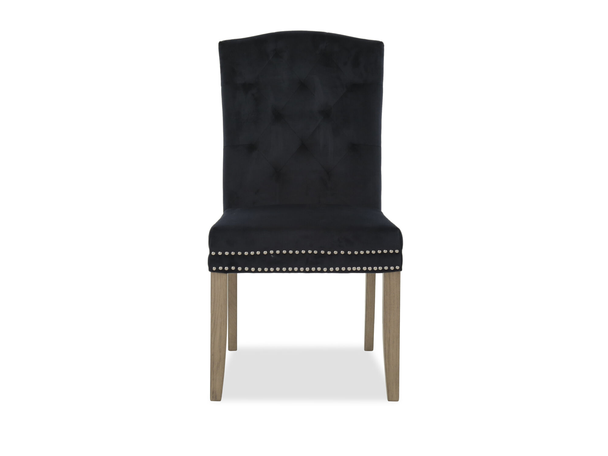 upholstered chair with nailhead trim neutral posture icon dining in black mathis brothers furniture