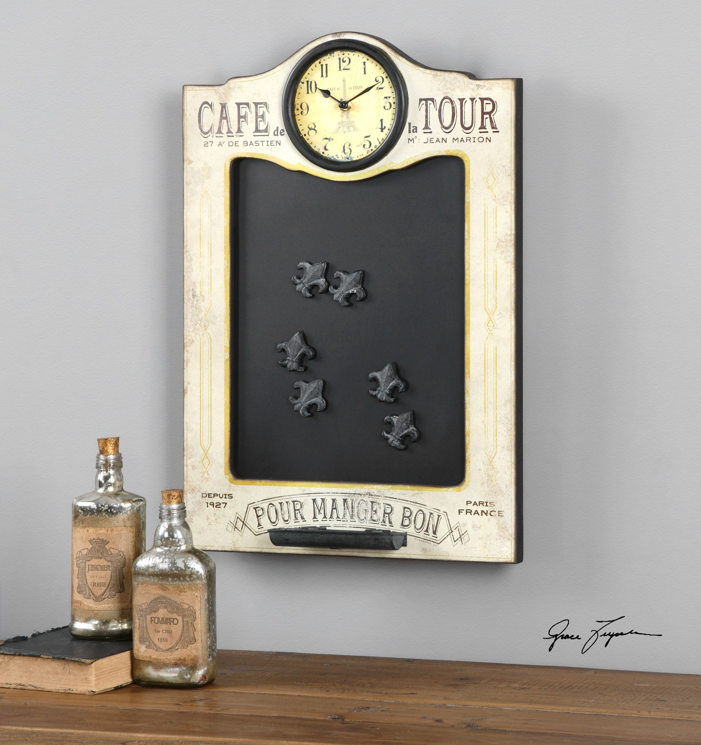 Iron Chalkboard And Clock With Fleur De Lis Magnets In