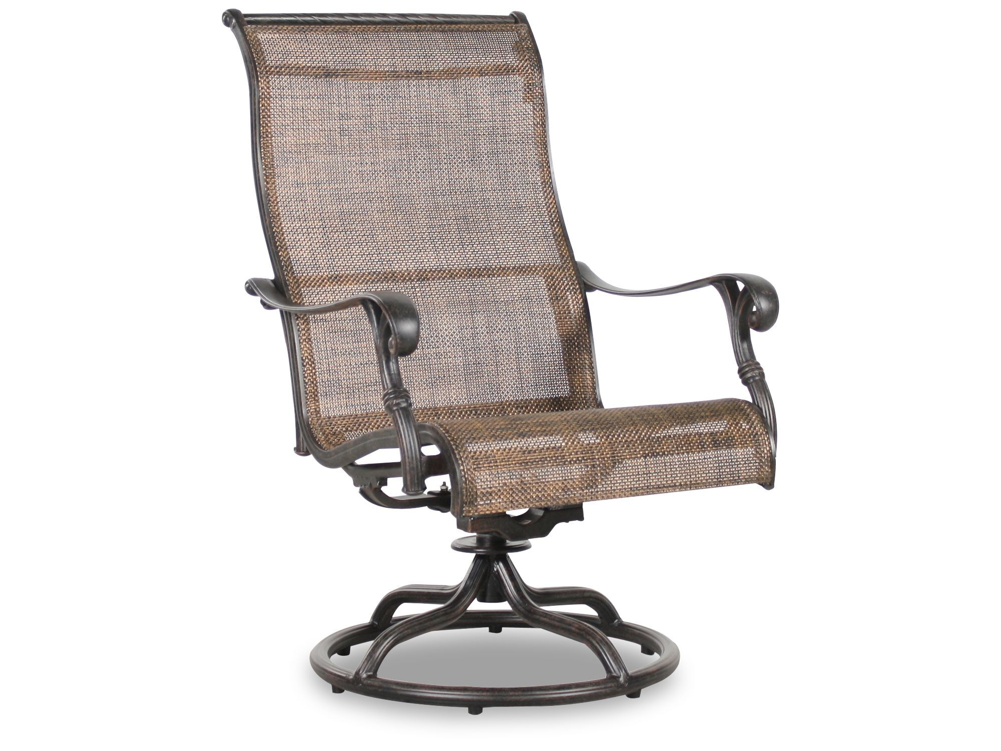 sling back patio chairs theater chair accessories screen aluminum swivel rocker in brown mathis