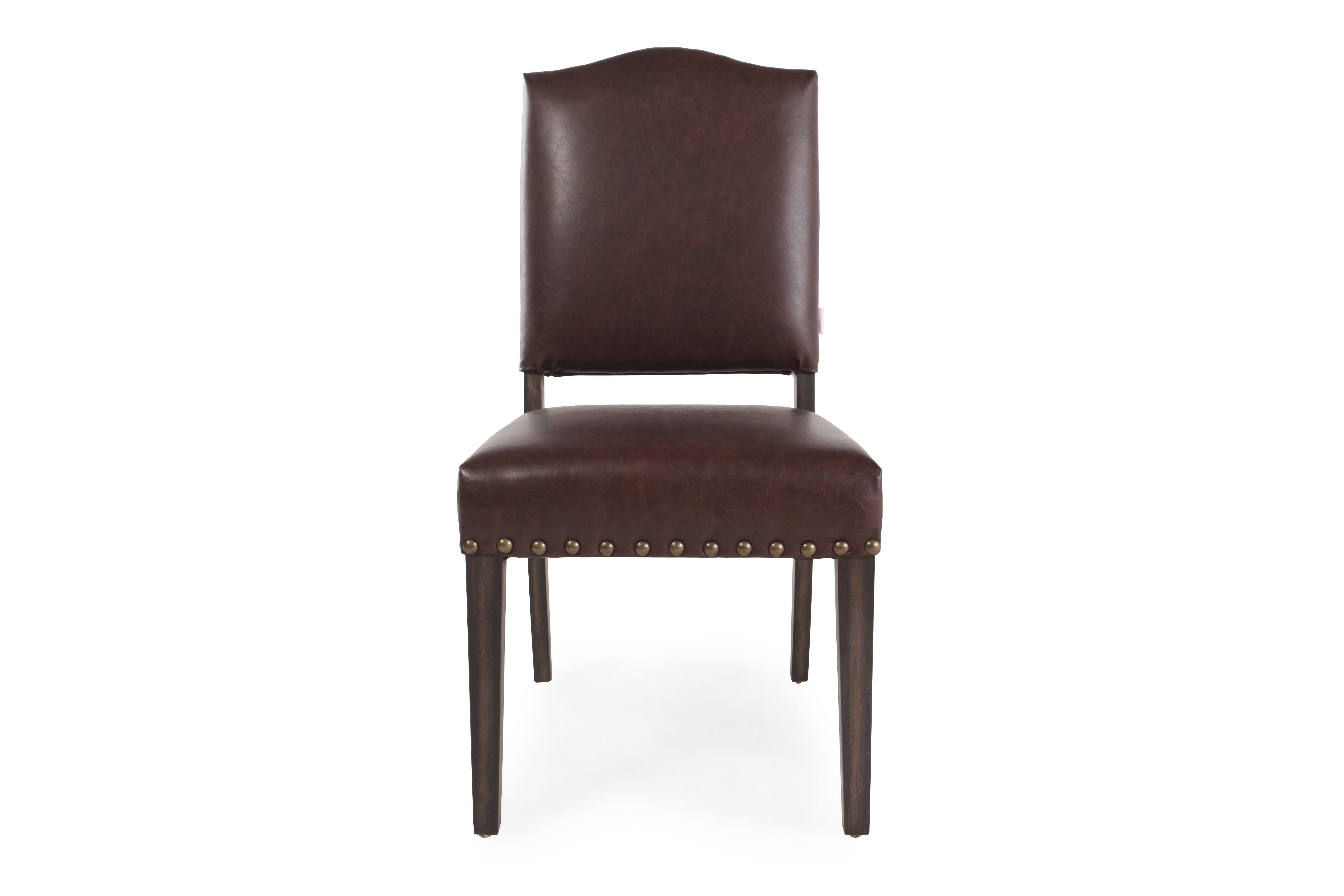 dark brown leather chair manual lift arched back 39 dining in mathis
