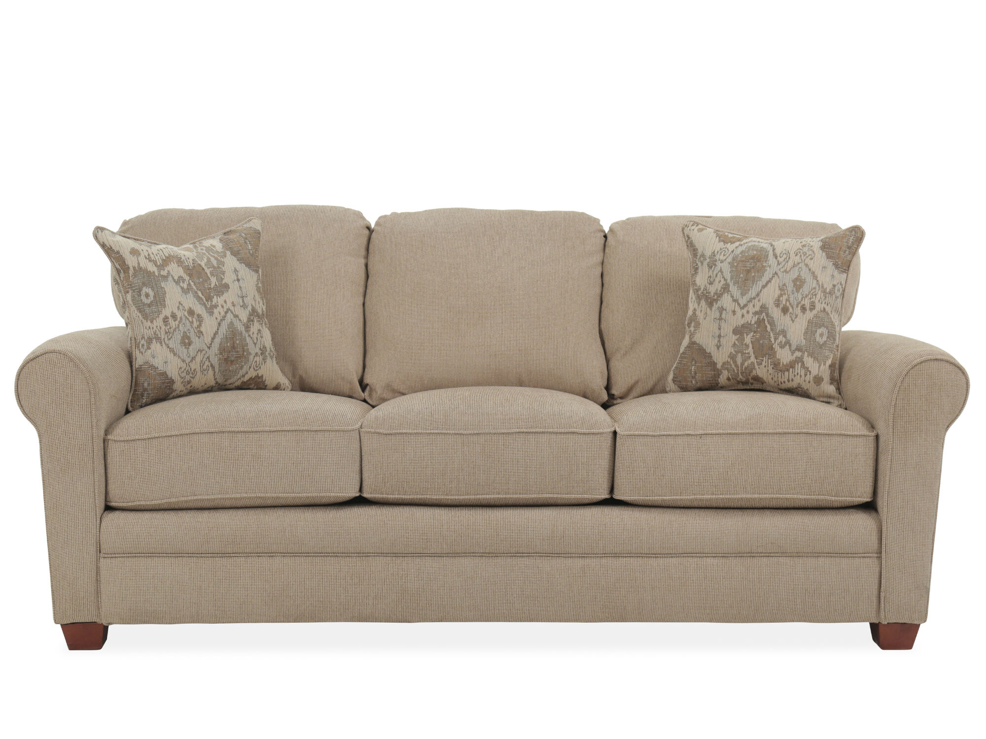Roll Arm Transitional 84 Queen Sleeper Sofa In Sand