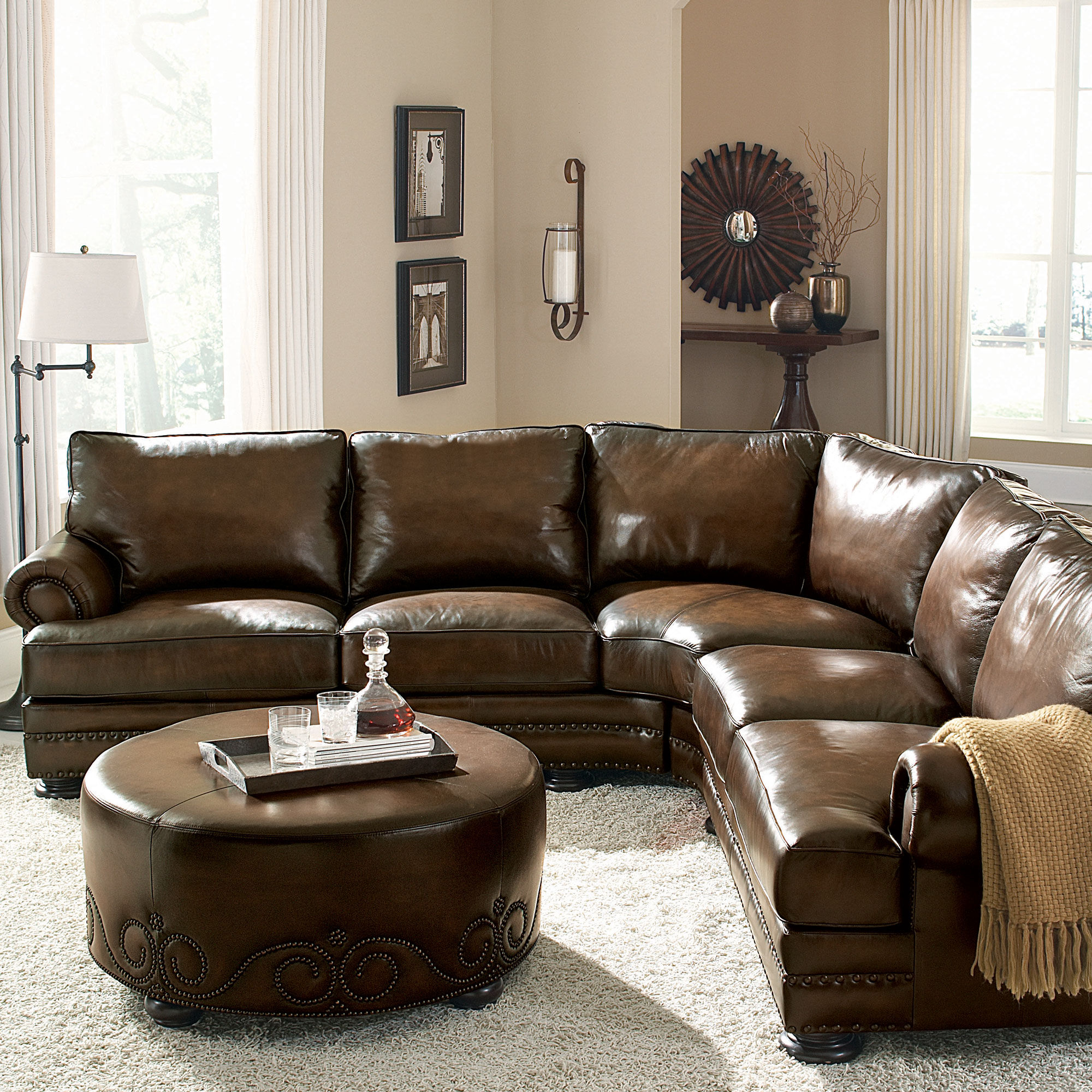 European Classic Nailhead Accented Leather 103 Sectional
