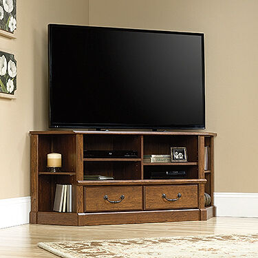 Two-corner Shelf Contemporary Entertainment Credenza In Milled Cherry Mathis Brothers Furniture