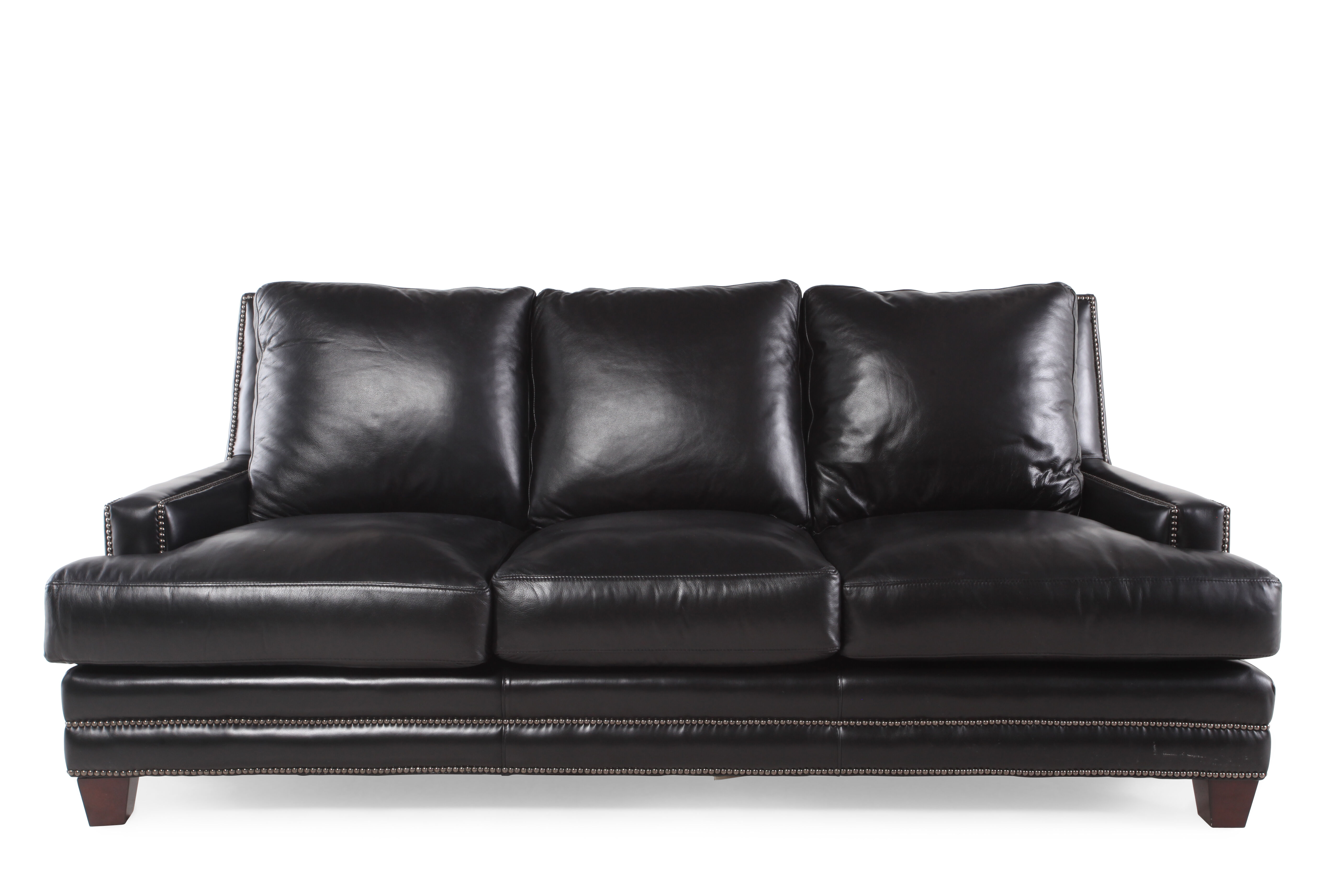 black leather sofa with nailheads cheers manwah reviews nailhead accented 86 quot in mathis