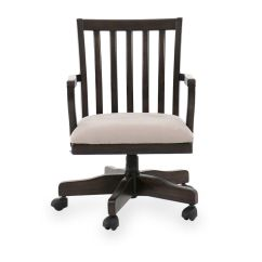 Microfiber Office Chair Folding Chairs With Cushions Slat Back Swivel Desk In Deep Walnut Mathis Brothers Furniture