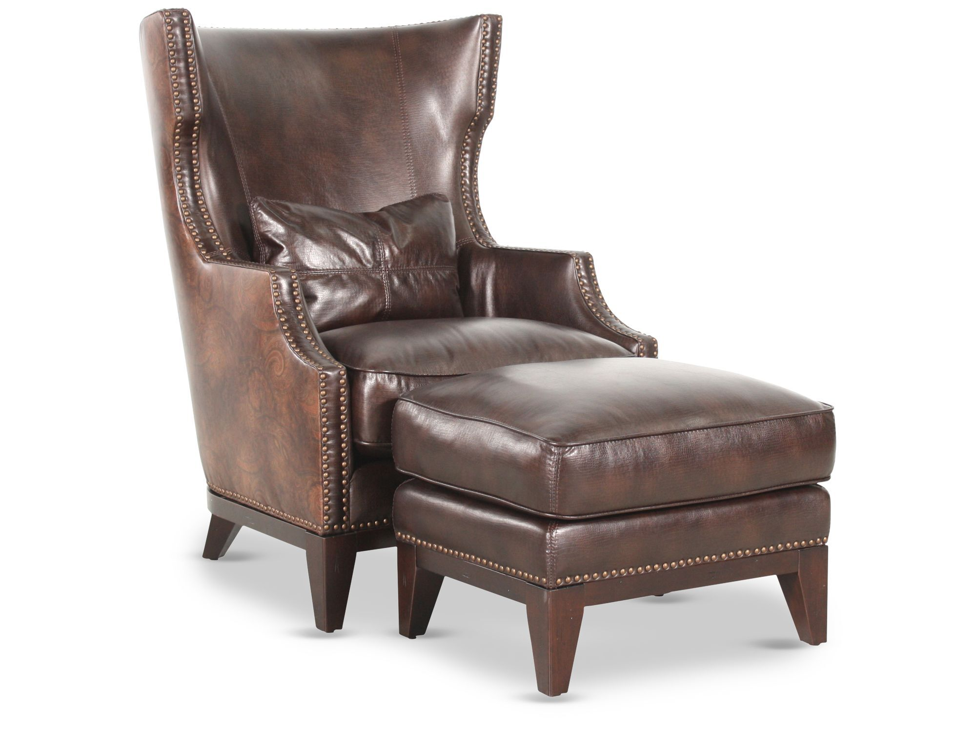 home decor accent chairs folding table and target nailhead accented leather 34 quot chair with ottoman in brown