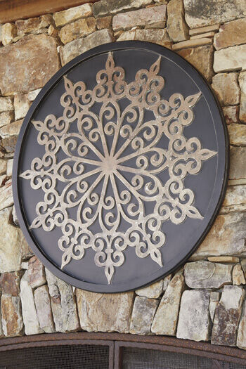 Traditional Medallion Carved Wall Decor in Black  Mathis