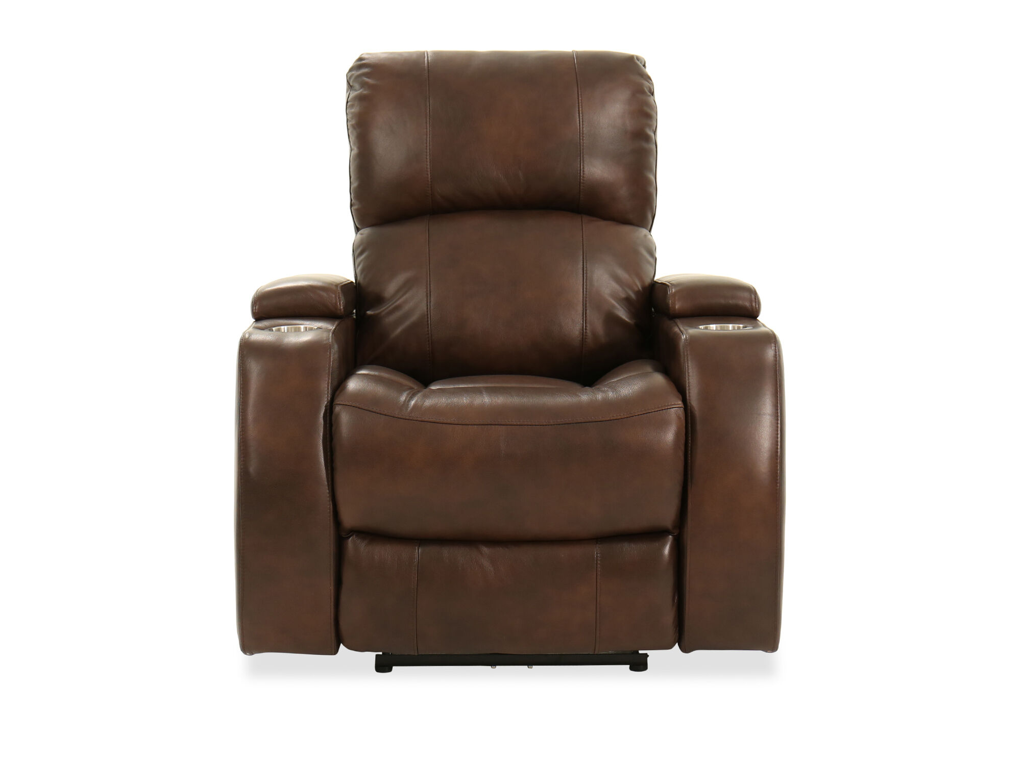 TwoCup Holder Leather 37 Power Recliner in Brown