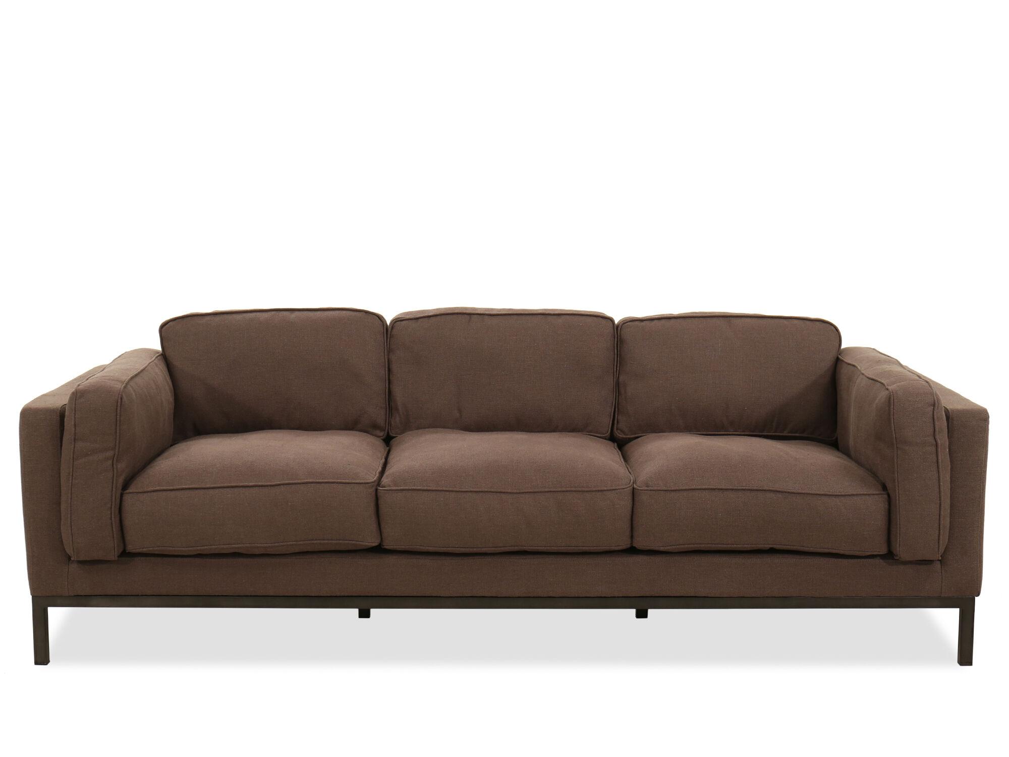 low profile three seater sofa in brown