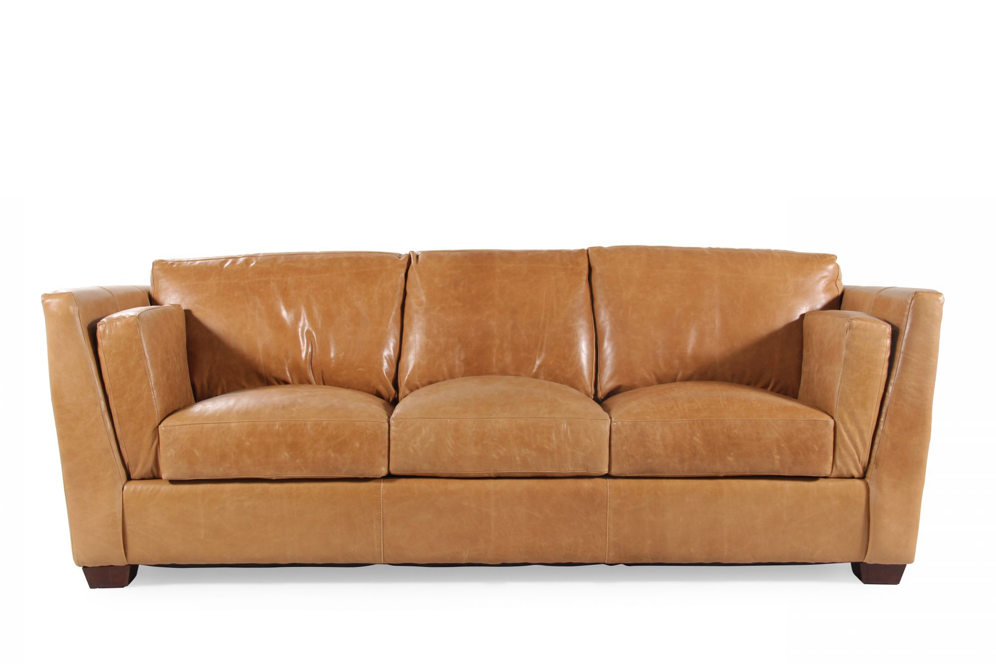 tindall 96 leather sofa 3 2 fabric sofas traditional quot in caramel brown mathis