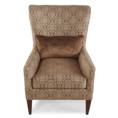 Patterned Living Room Chairs Hairdressing Canada Transitional Trellis 30 Quot Wing Chair In Brown