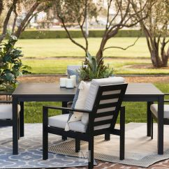 Modern Outdoor Dining Chair Black Throne Aluminum Patio In Mathis