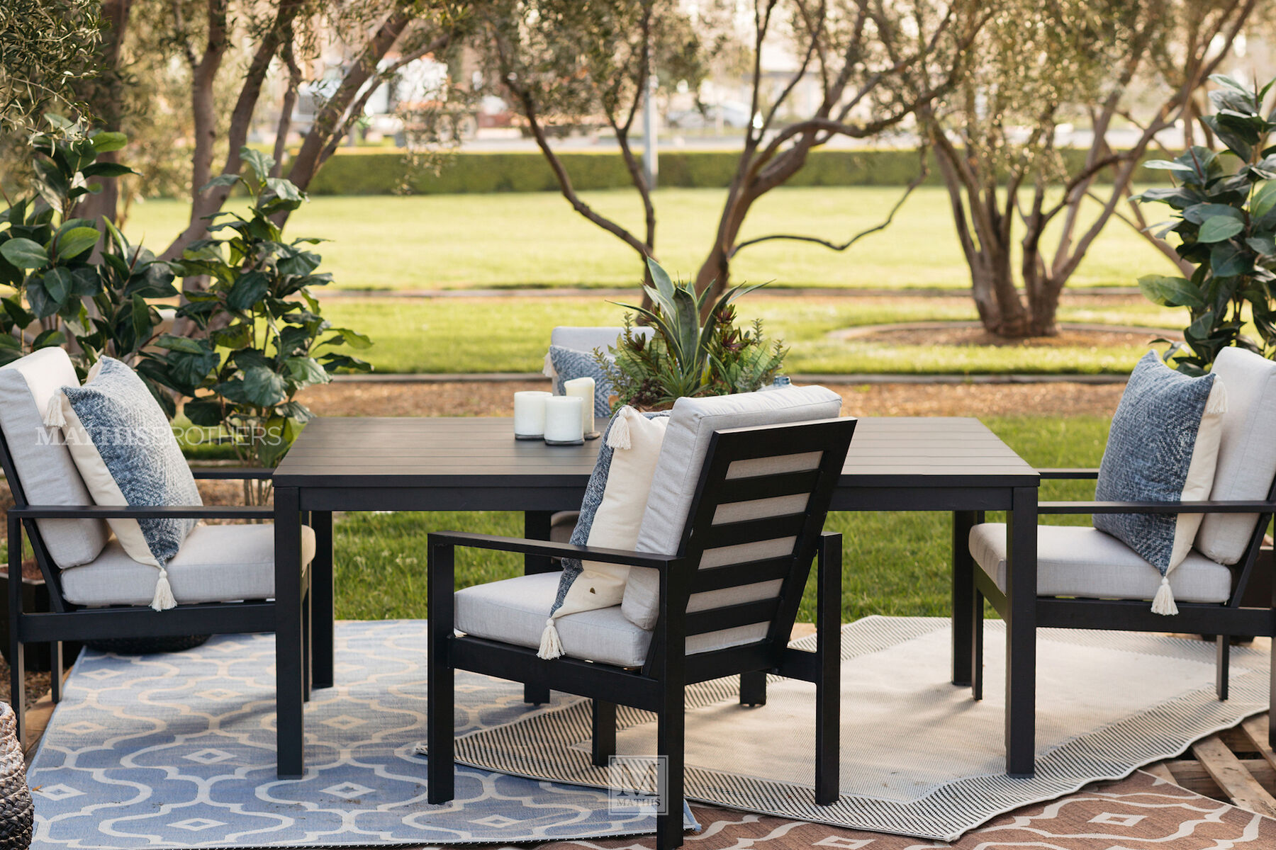 Modern Aluminum Patio Dining Chair In Black Mathis