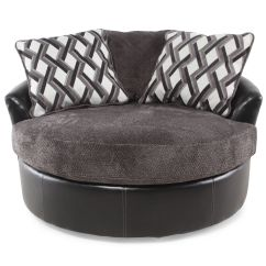 Black Oversized Chair Outdoor Stacking Chairs Microfiber 58 Quot Swivel Accent In Smoke Gray