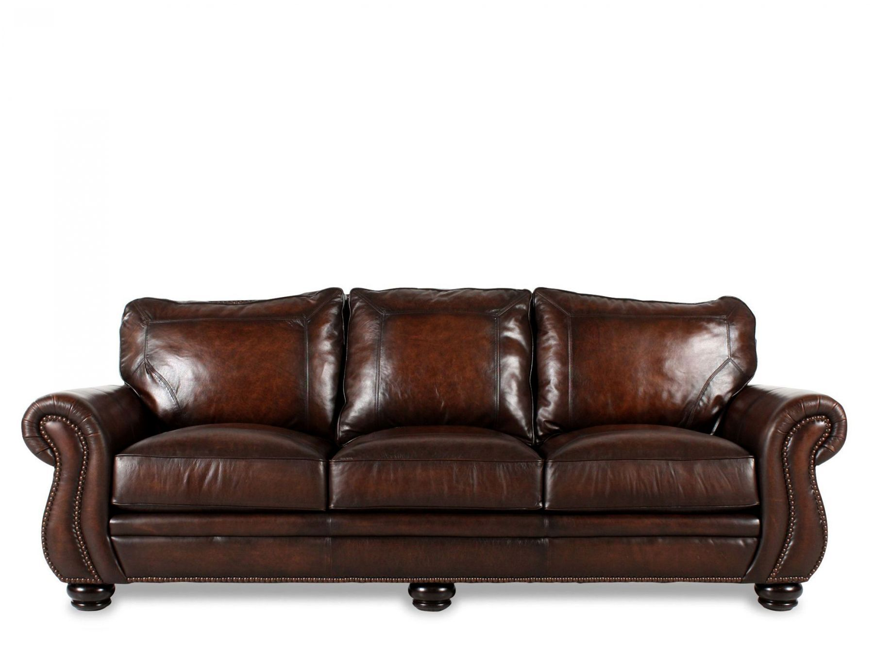 leather nailhead sofa set tidafors bed review accented 100 quot in brown mathis