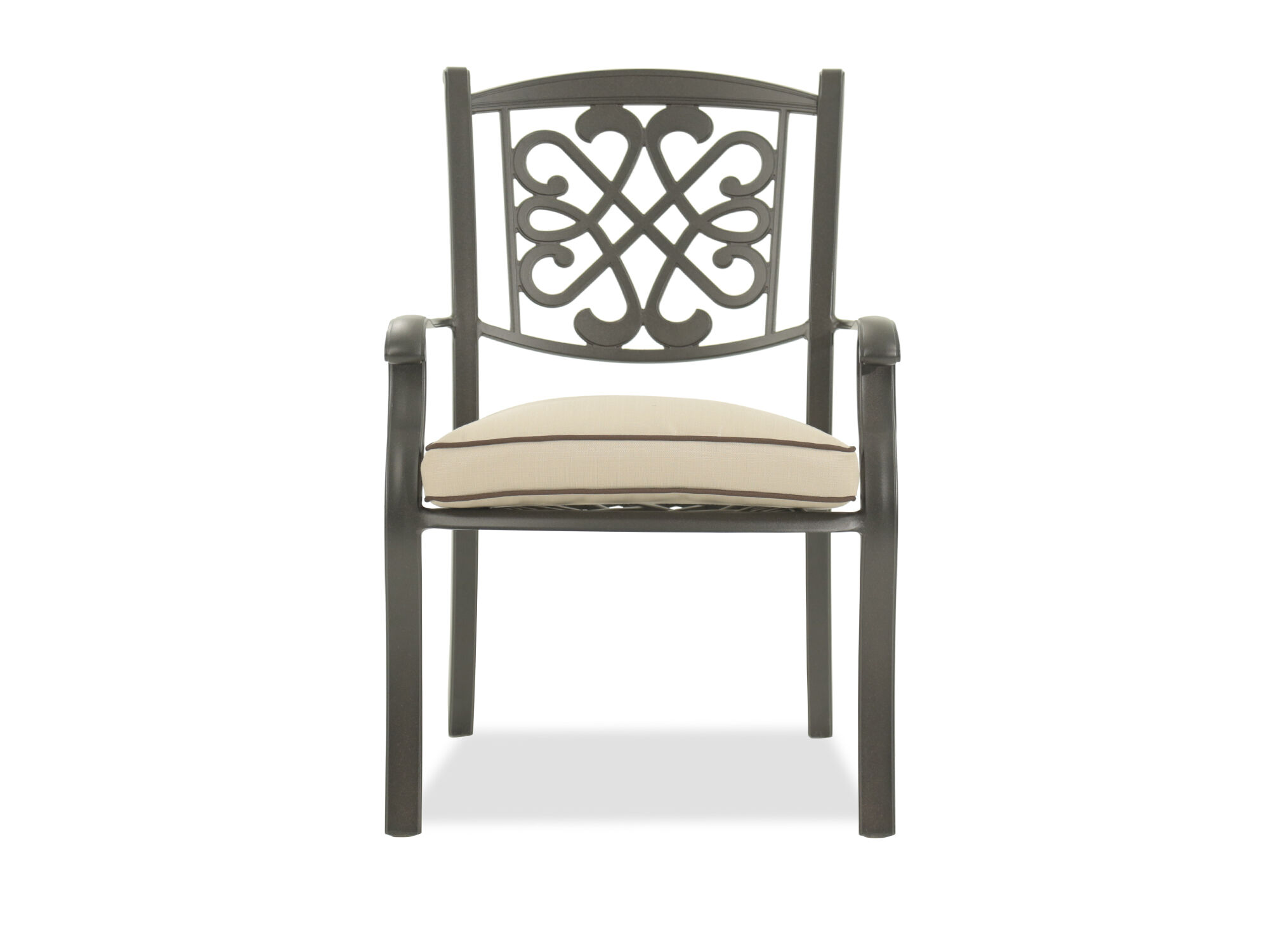 metal outdoor chair gym as seen on tv patio chairs seating mathis brothers scrollwork aluminum with cushion in dark brown