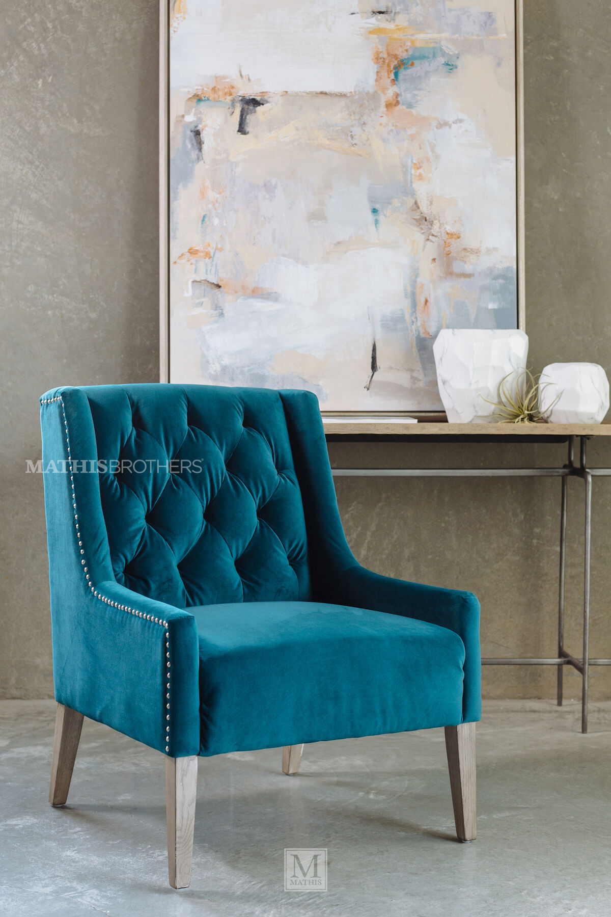 Tufted Casual Velvet Accent Chair in Blue  Mathis