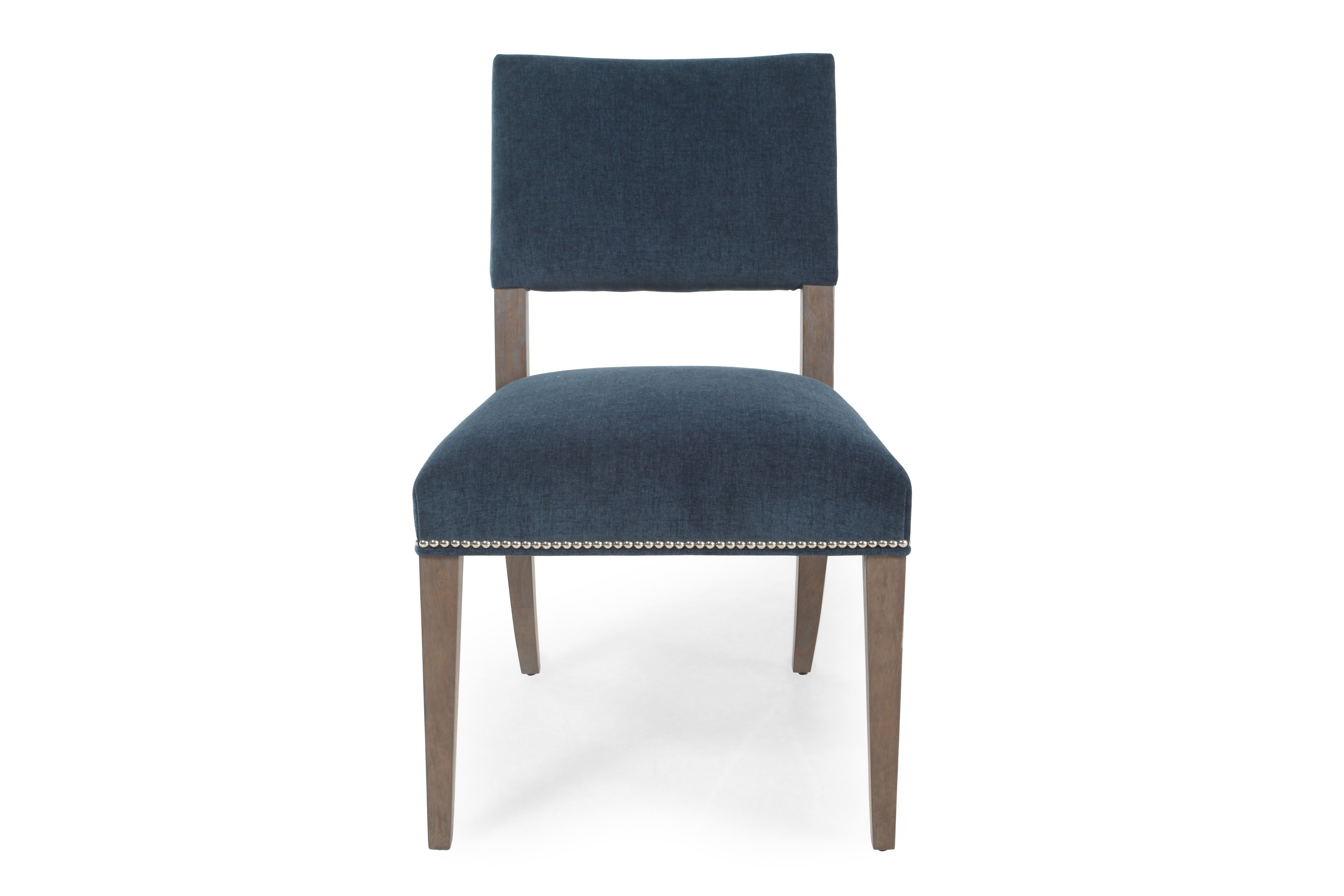 nailhead dining room chairs cane peacock chair for sale trim 22 quot side in blue mathis brothers