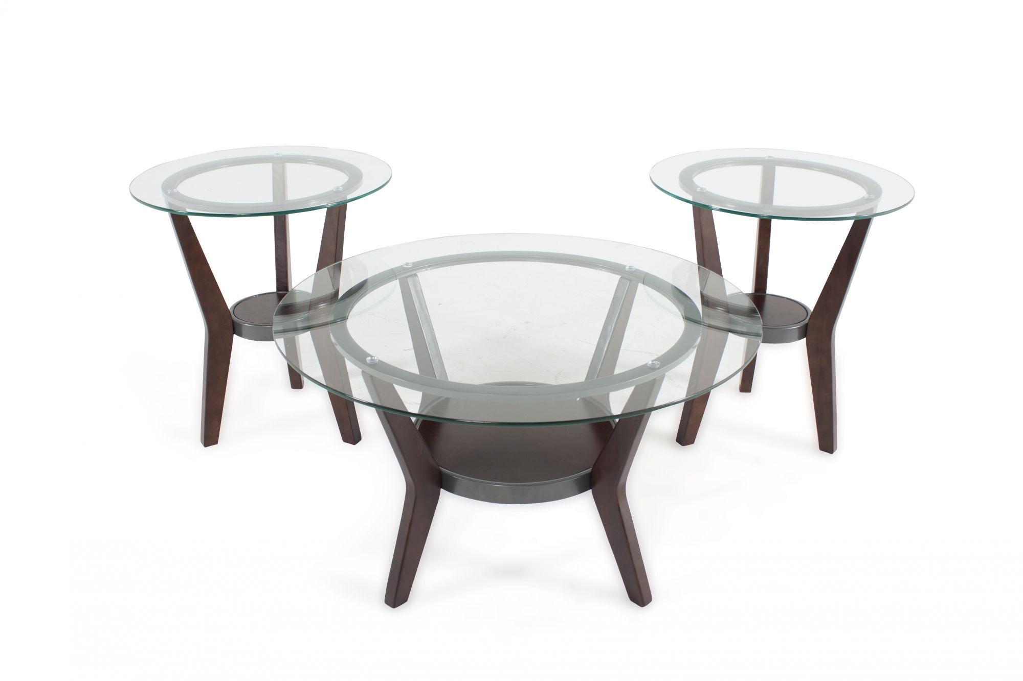 Three Piece Round Contemporary Coffee Table Set In Dark