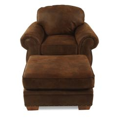 Microfiber Club Chair With Ottoman Vintage Mcguire Chairs Nailhead Trimmed And In Dark Russet Brown