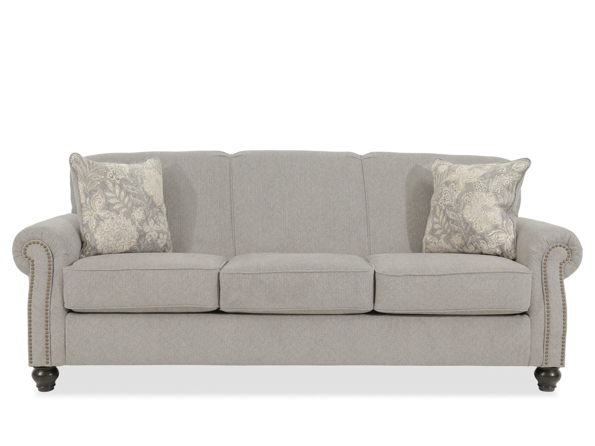 grey carleton nailhead sofa the store towson contemporary accented 92 quot in gray mathis