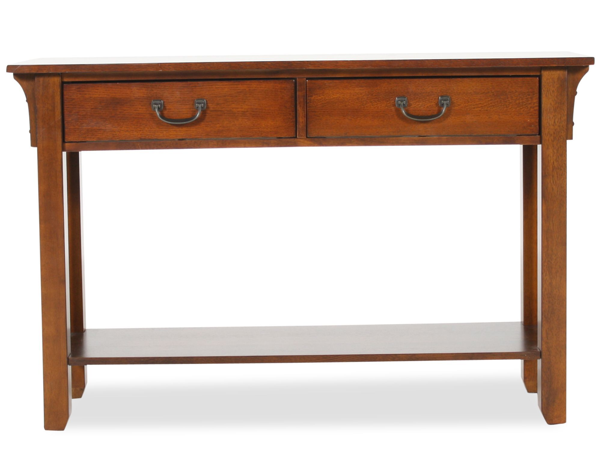 oak mission sofa table wayfair sofas canada two drawer in weathered mathis
