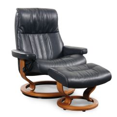 Oversized Leather Chair And Ottoman Antique Oak Rocking Large Reclining In Cori Blue
