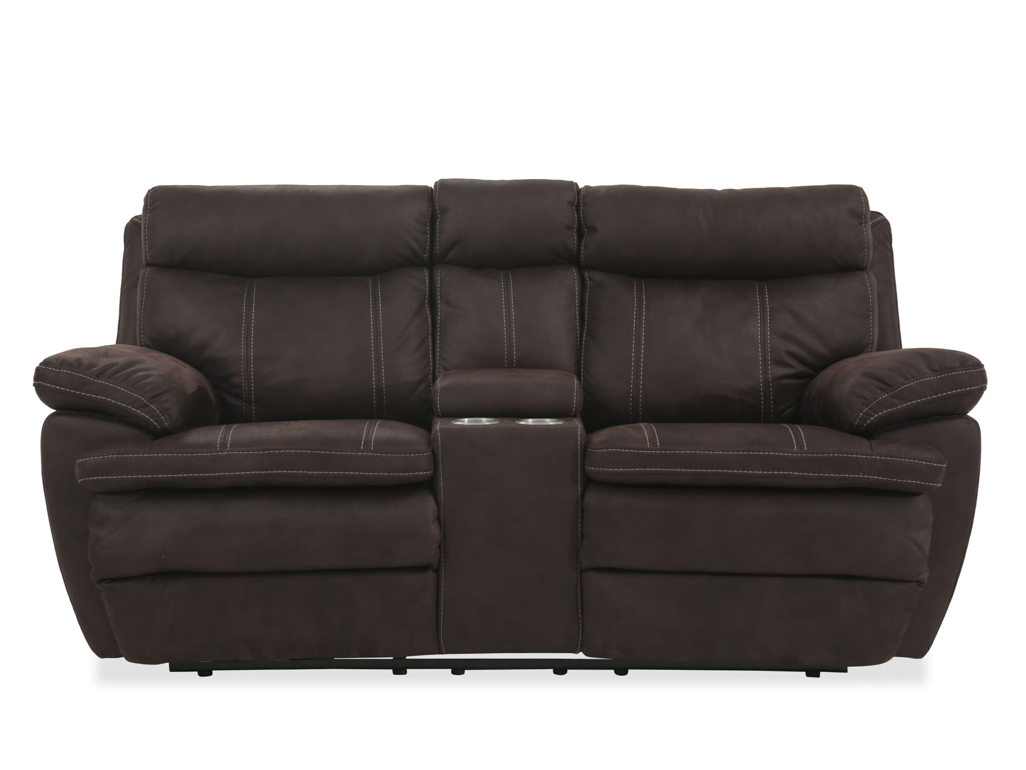Power Reclining Microfiber 77 Loveseat With Console In