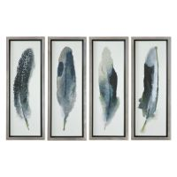 Four-Piece Feathers Printed Framed Wall Art Set | Mathis ...