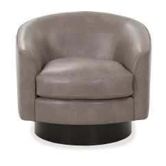 Barrel Back Chair Reading Poolside Lounge Leather Swivel In Brown Mathis Brothers Furniture