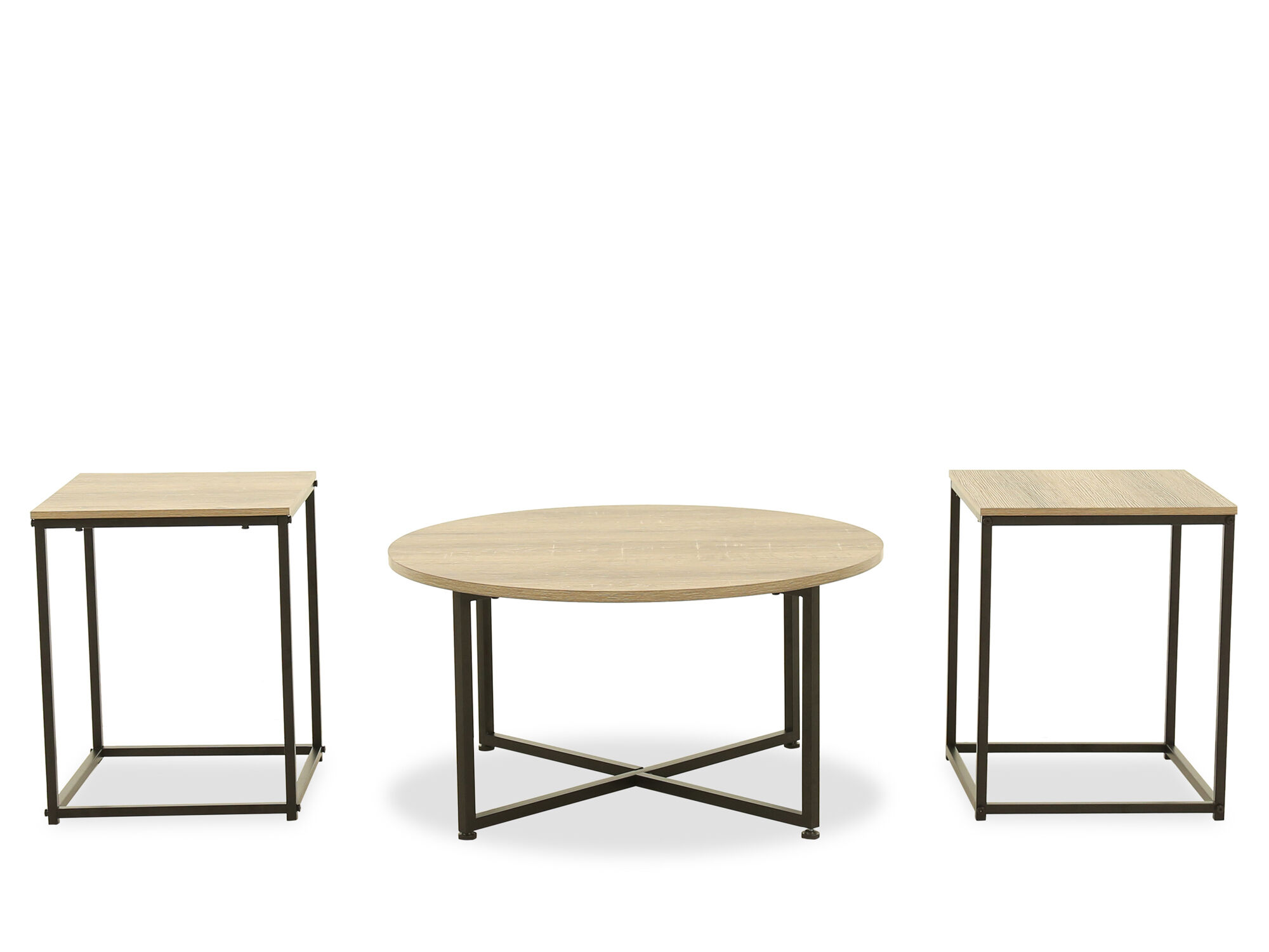 Three Piece Contemporary Occasional Table Set In Gray Mathis Brothers Furniture