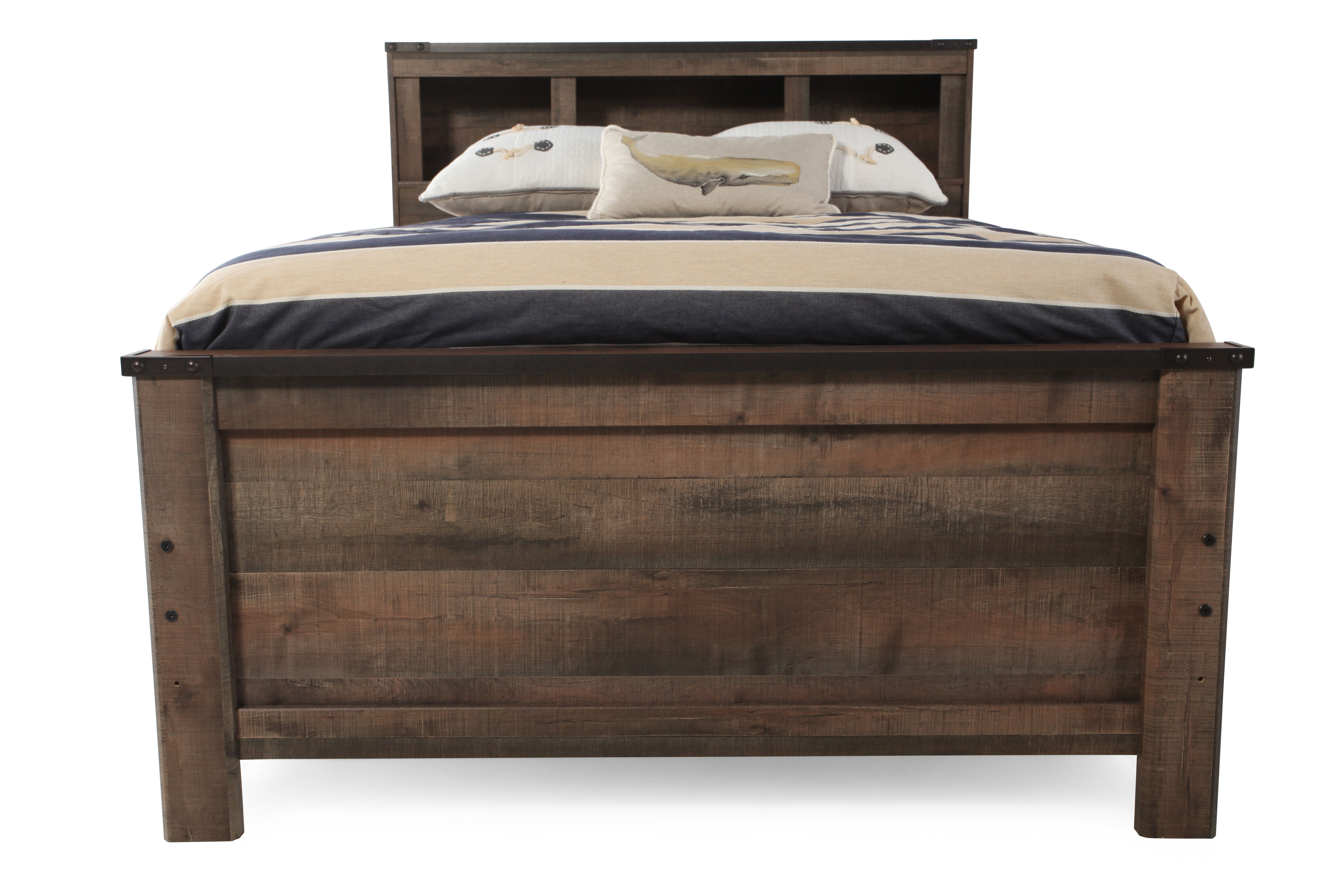 Rustic Farmhouse Planked Youth Bookcase Bed In Brown