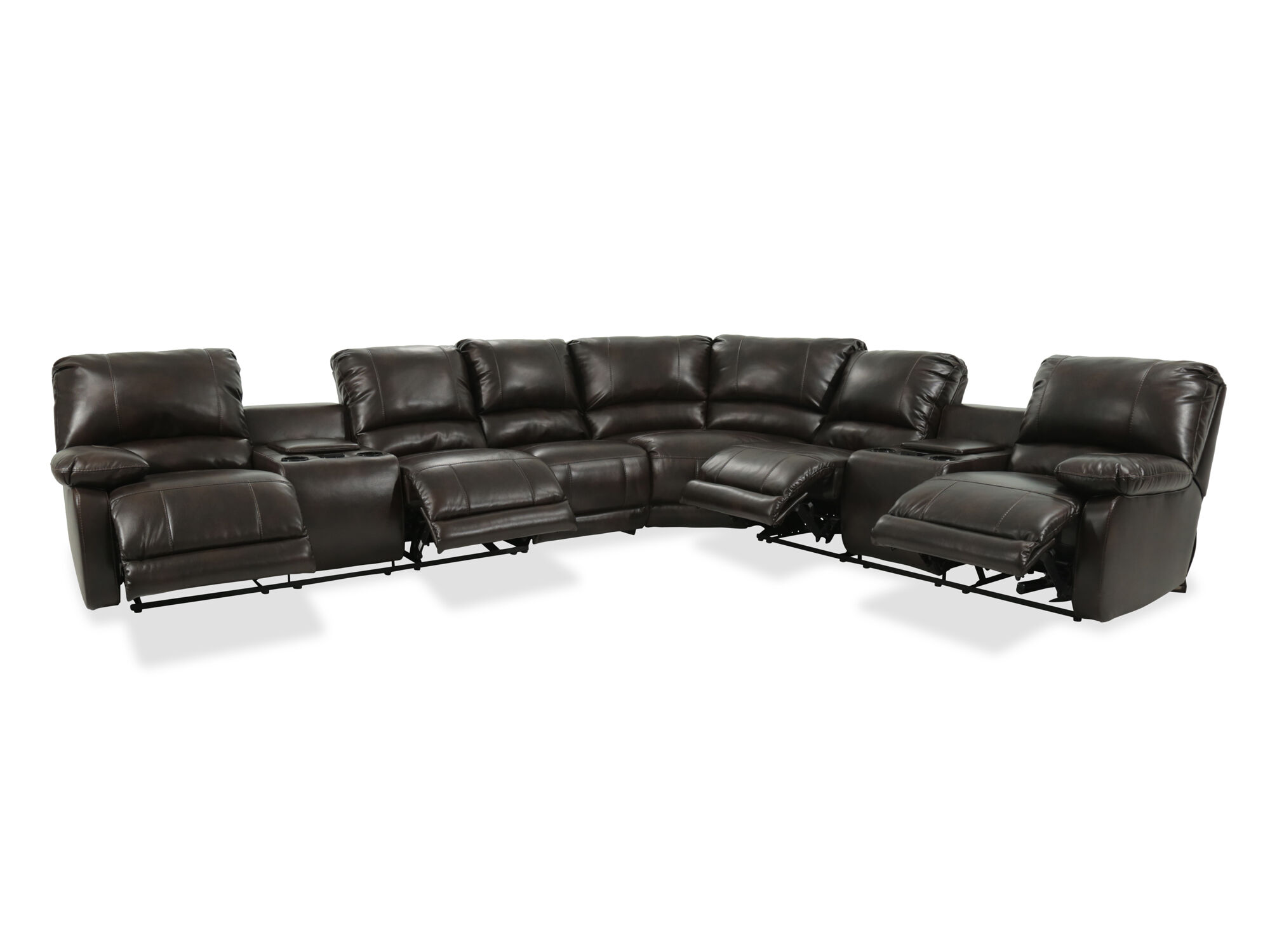 Four Piece Microfiber Sectional In Brown Mathis Brothers
