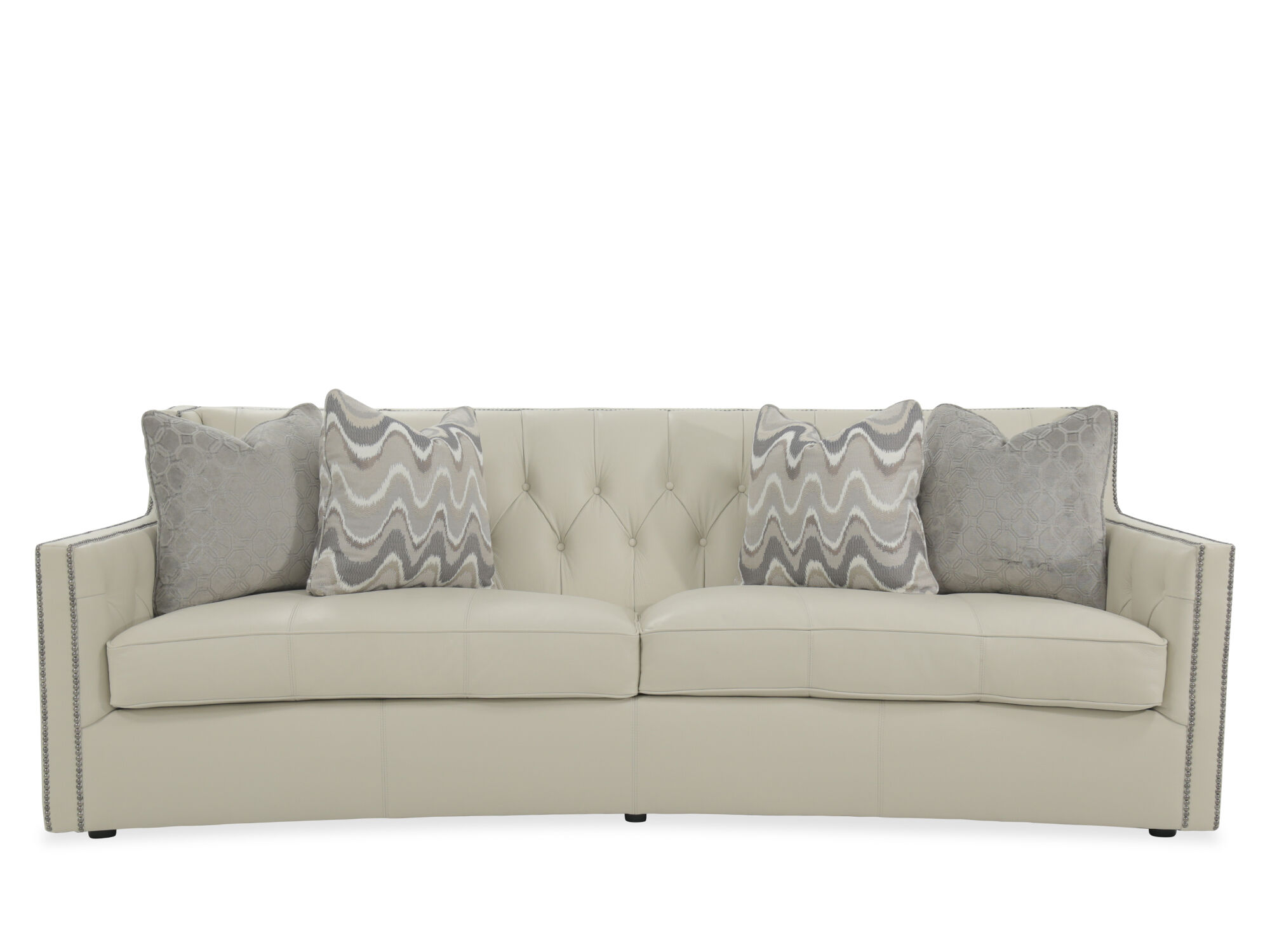 """Button Tufted 96"""" Leather Sofa in White   Mathis Brothers ..."""