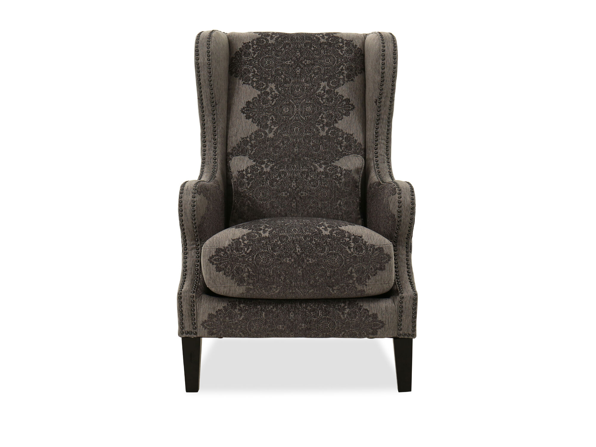 nailhead wingback chair ivory covers amazon accented contemporary in gray