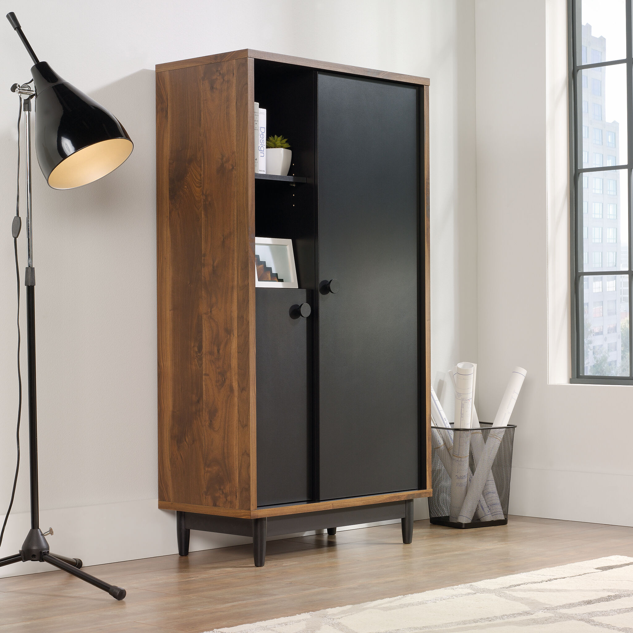60 TwoDoor Casual Storage Cabinet in Walnut  Mathis