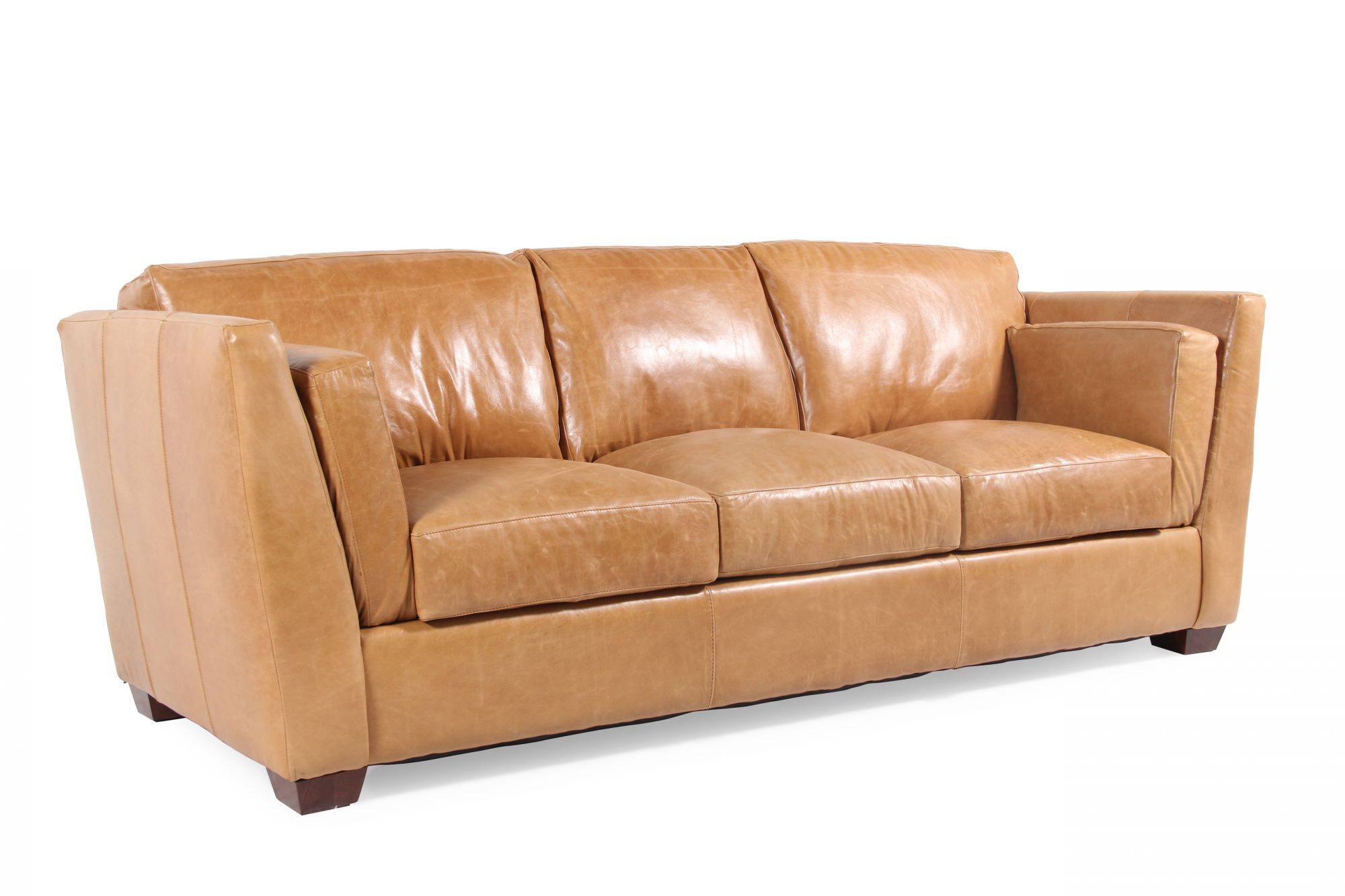 tindall 96 leather sofa how to upholster a rolled arm traditional quot in caramel brown mathis