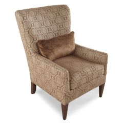 Patterned Living Room Chairs Swivel Chair Floor Protector Transitional Trellis 30 Quot Wing In Brown