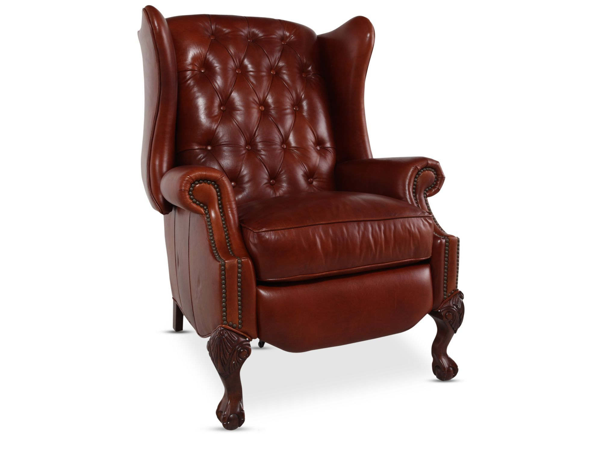 Button-tufted Leather Recliner In Red Mathis Brothers