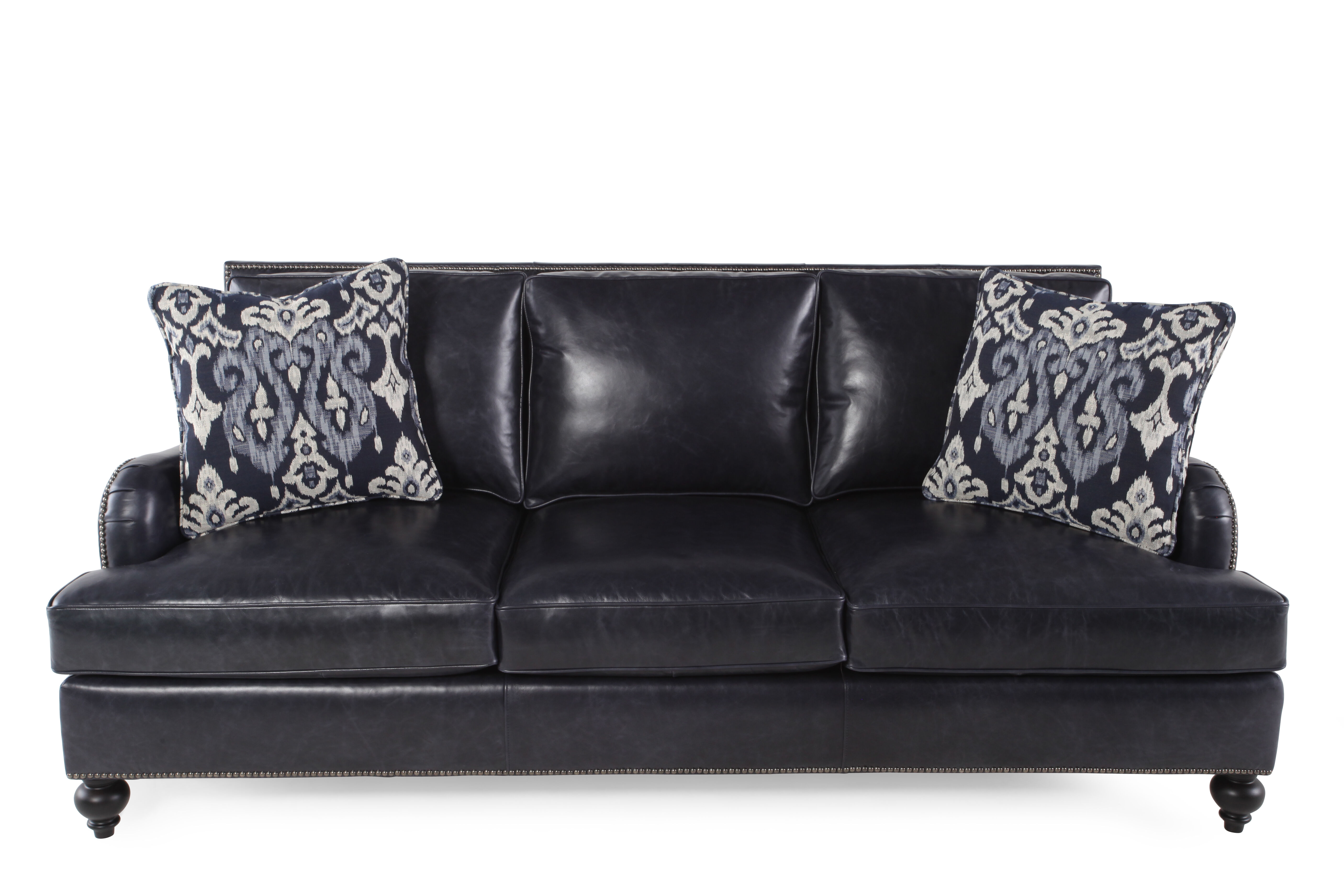 black leather sofa with nailheads ready made stretch covers uk nailhead accented 86 quot in mathis