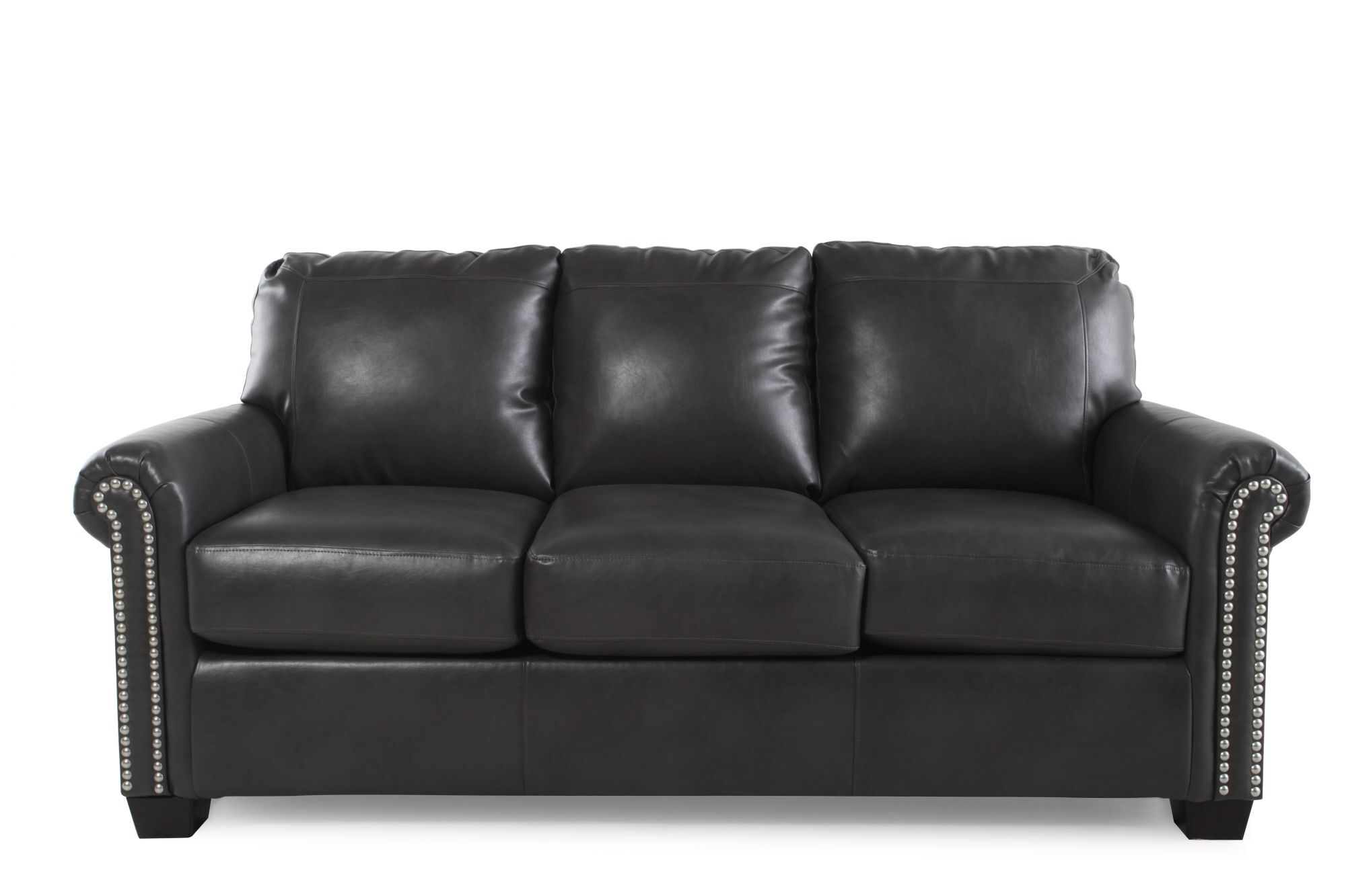 leather sleeper sofa with nailheads extra long covers for pets nailhead accented 78 mathis brothers furniture quot