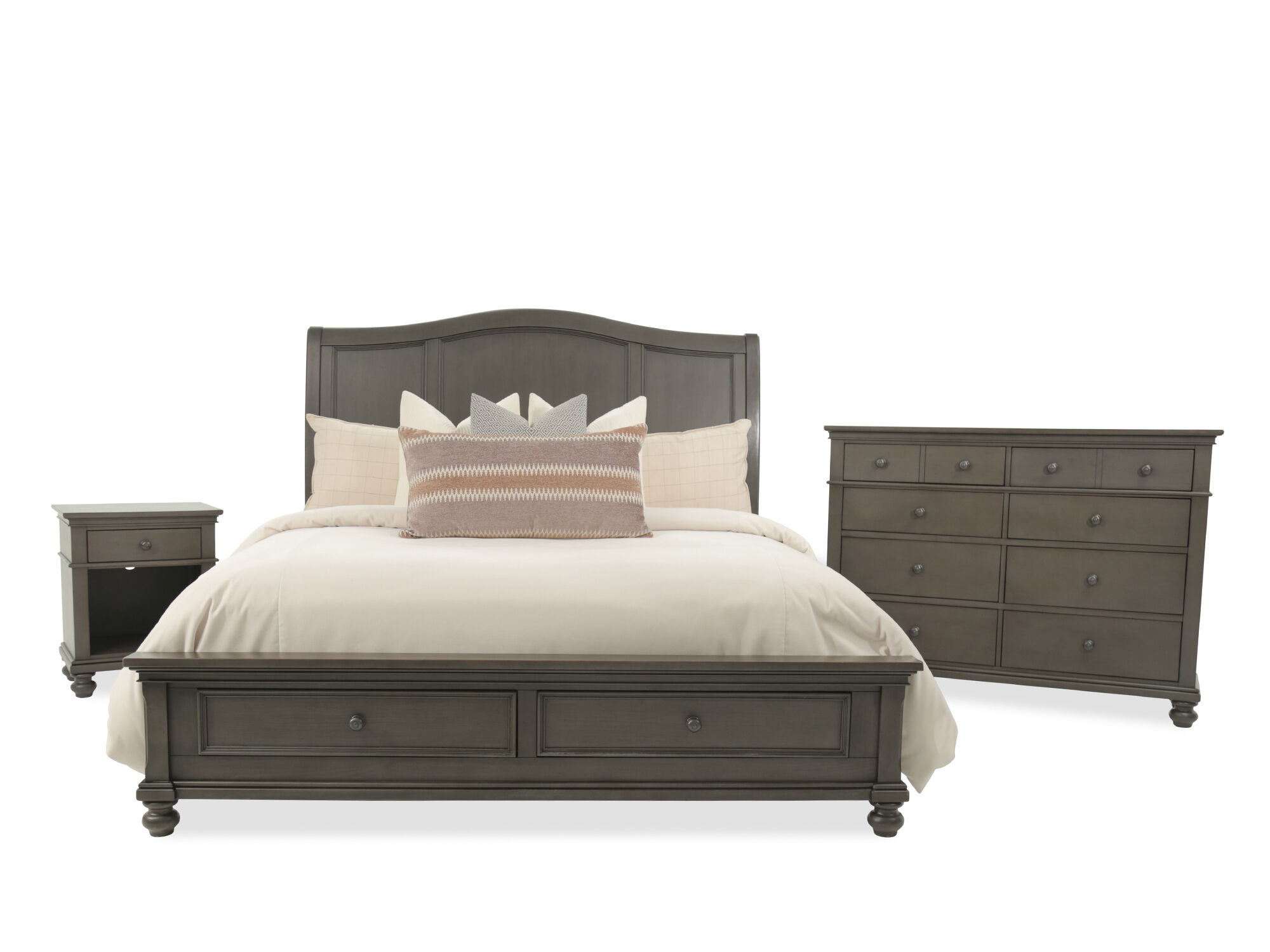 Three Piece Transitional Storage Bedroom Set In Peppercorn