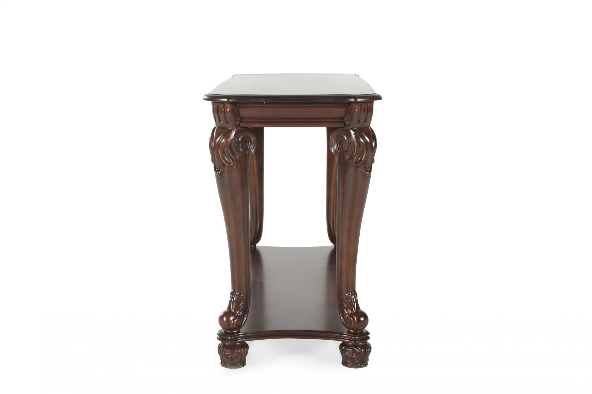 dark sofa tables brown leather recliner dfs traditional chippendale leg table in