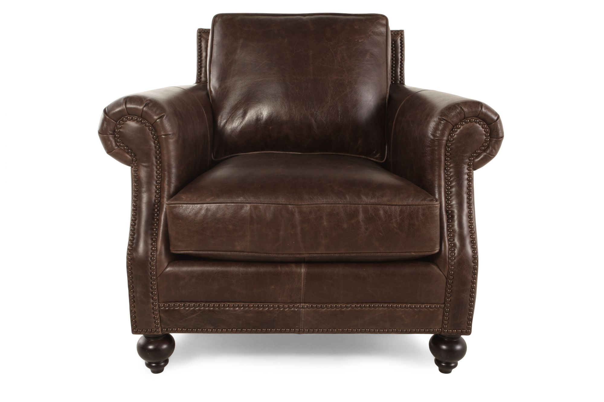 bernhardt brown leather club chair circle bungee target brae mathis brothers furniture