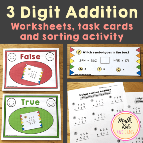 small resolution of 3 Digit addition with regrouping worksheet (FREEBIE!) - Math