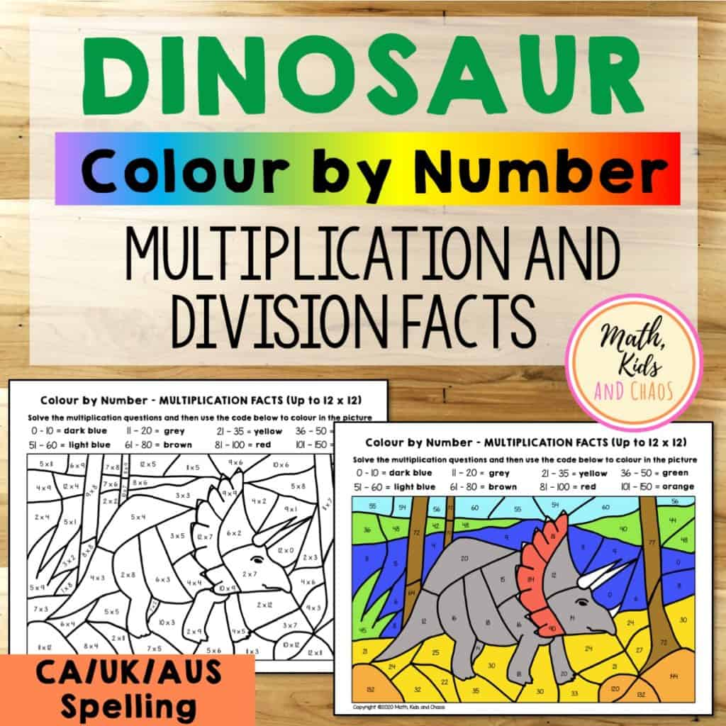 hight resolution of Dinosaur math worksheets (for multiplication and division facts) - Math