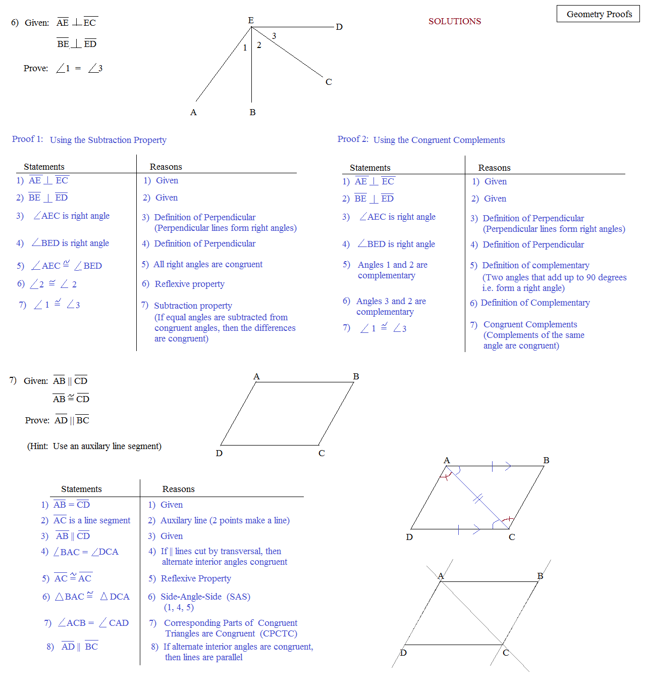 Angle Proof Geometry Worksheet