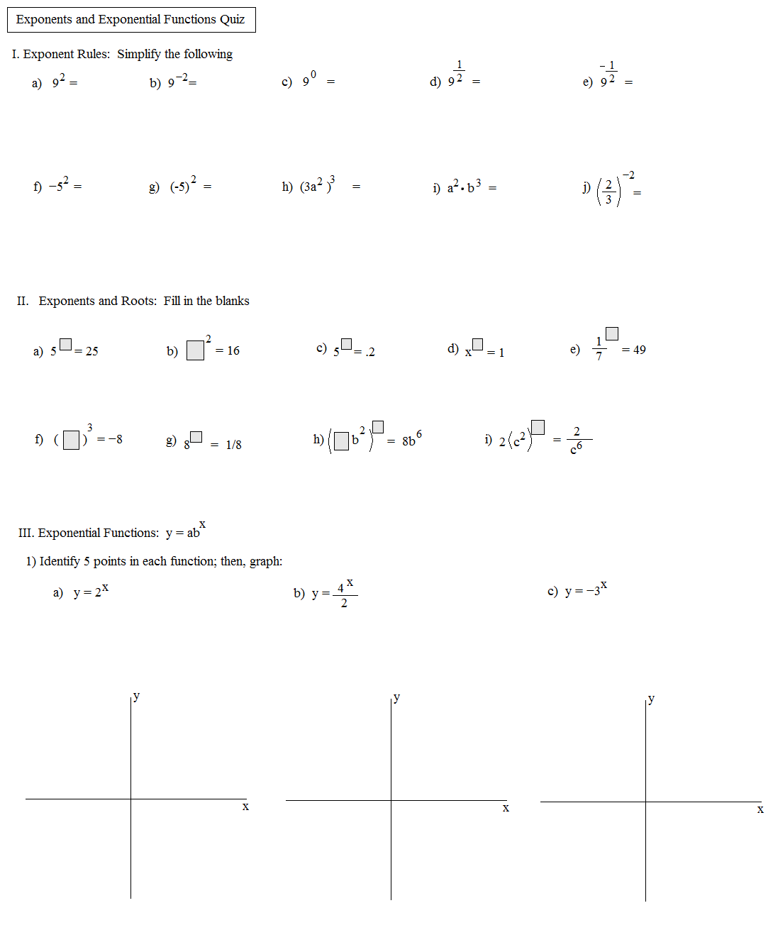 32 Worksheet A Exponential Functions