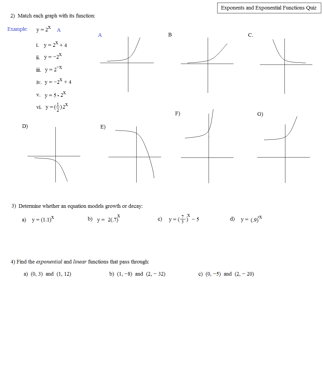 Quadratic Functions Worksheet Grade 9