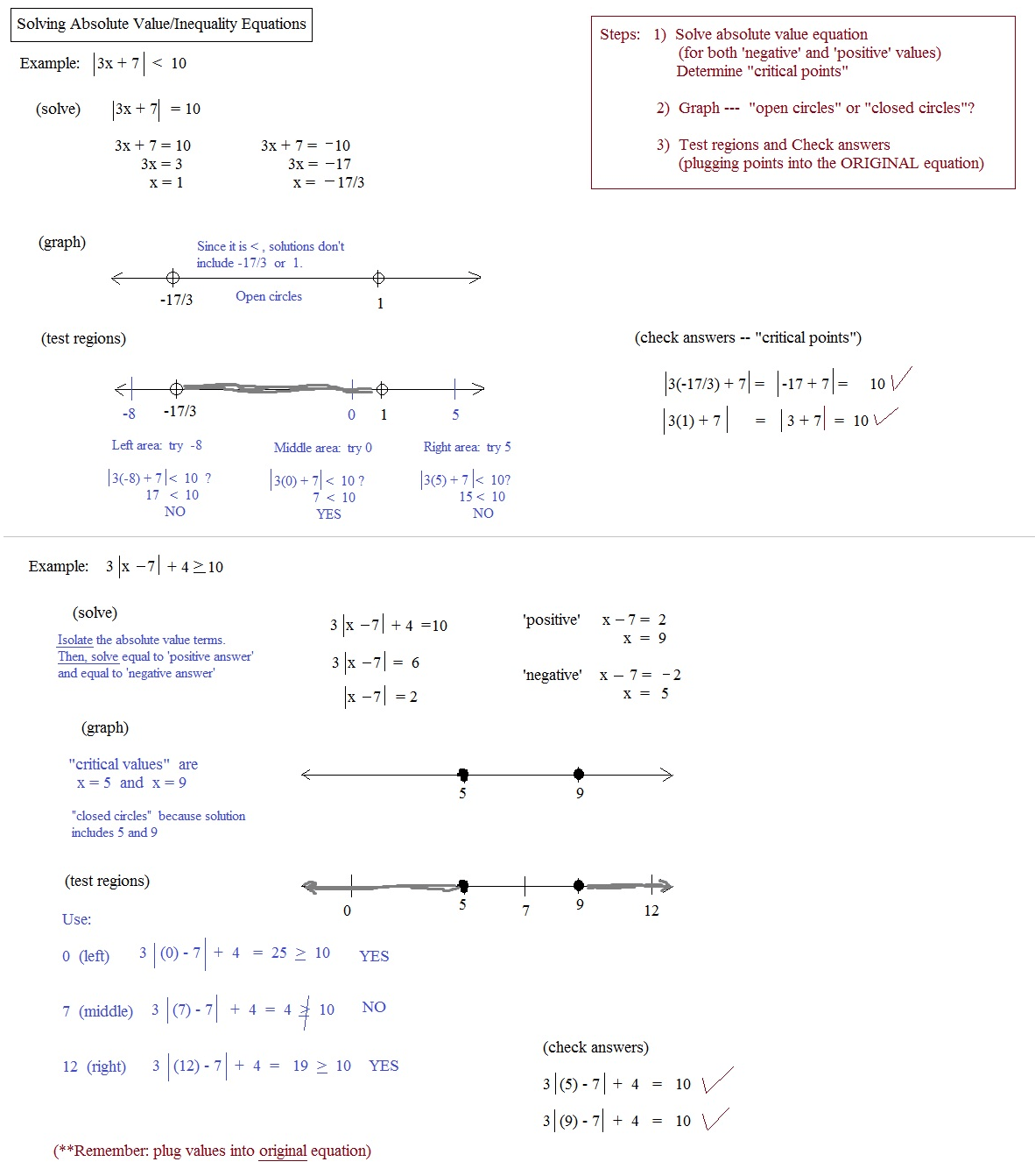 Absolute Value Equations And Inequalities Review Worksheet Answers
